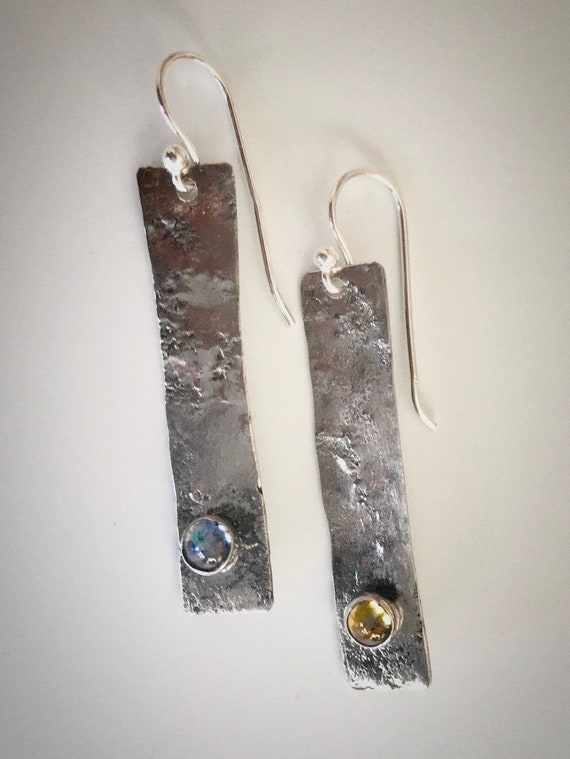 Reticulated Sterling Silver drop earrings w/cabochons