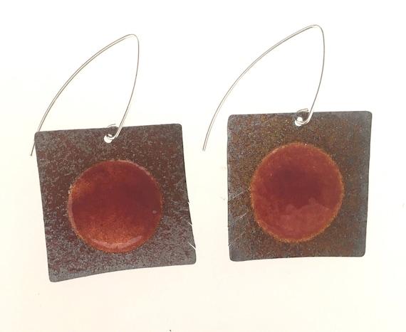 Sterling Silver EnamelArt earrings