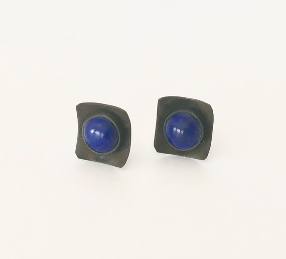 Modern Sterling Silver and Cabochon Stud Earrings