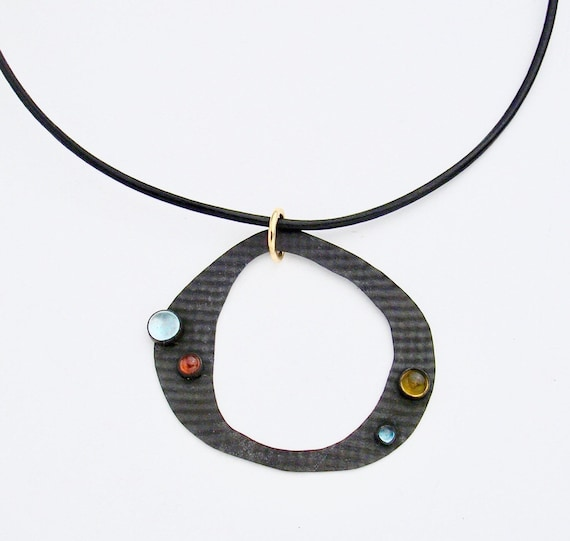 Blackened & Textured Sterling Necklace with Cabochons