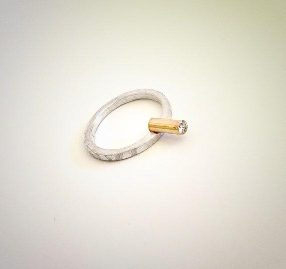 Sterling & 14K Diamond Ring