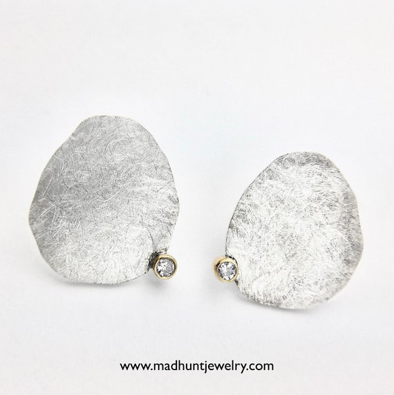 Contemporary Sterling Silver & 14K Diamond Earrings
