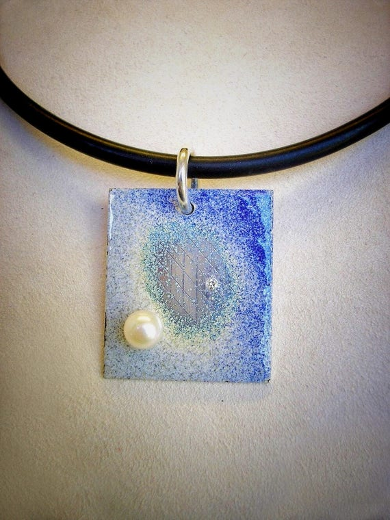 Sterling, Enamel, Pearl and Diamond Pendant on Rubber Cord
