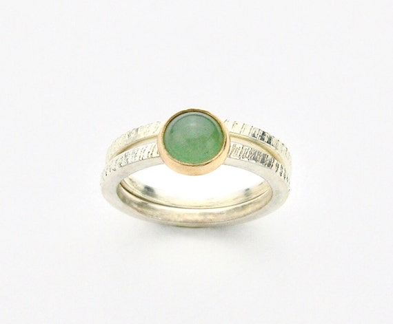 Sterling & 14K Gemstone Cabochon Stacking Ring Set