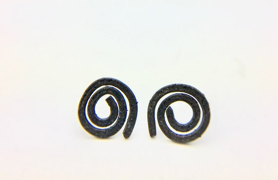 Oxidized Sterling Spiral Earrings