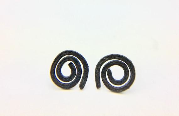 Oxidized Sterling Spiral Earrings