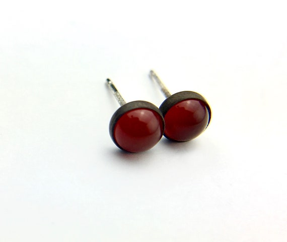 Blackened Sterling Silver Cabochon Stud Earrings