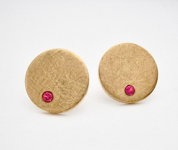 Minimalist Bronze Stud Earrings with Natural Pink Spinel