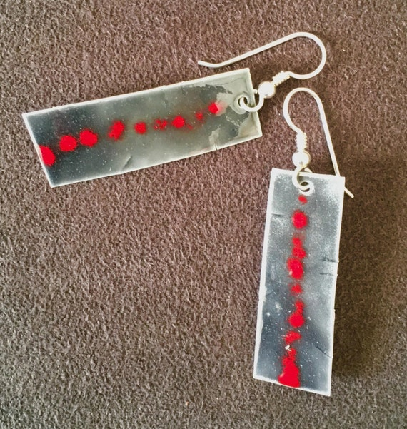Fine Silver EnamelArt earrings.