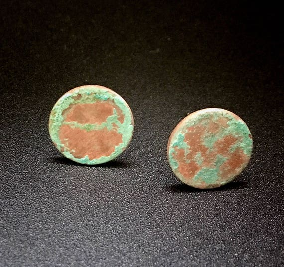 Copper Verdigris Stud Earrings
