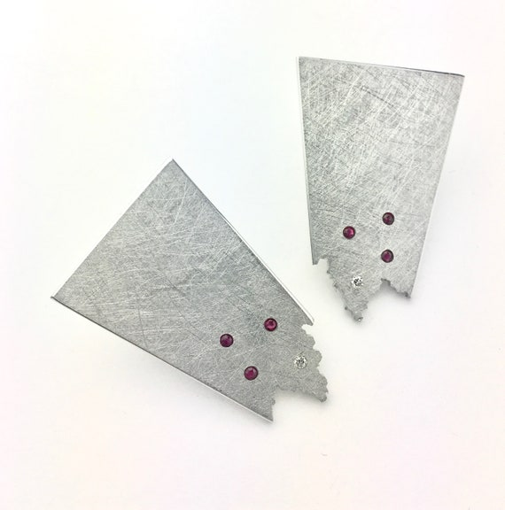Reclaimed Aluminum Ruby and Diamond Earrings