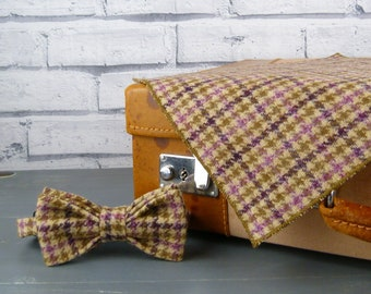 Bow Tie and Pocket Square - Olive/Pink/Purple Yorkshire Plaid Tweed