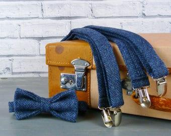 Tweed Bow Tie and Braces/Suspenders set - Navy Herringbone Yorkshire Tweed