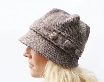 fe965202021 Harris Tweed Cloche Hat - Multi Autumnal Colour Herringbbone