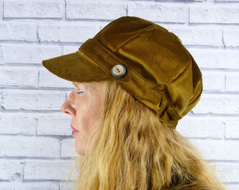 221327c7e39 Baker Boy Hat Mustard Yellow Corduroy