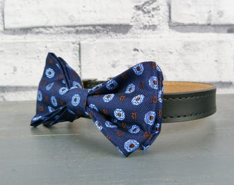 Real Silk Navy and blue Silk Bow Tie for Dogs eco friendly Dog Bow Tie