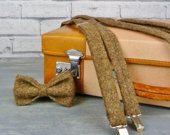 Tweed Bow Tie and Braces/Suspenders set - Brown Yorkshire Birdseye Tweed