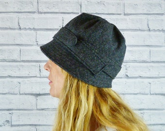 Womens Cloche Hat - Charcoal Yorkshire Herringbone Tweed, Womens Hat