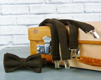 Tweed Bow Tie and Braces/Suspenders set - Brown Yorkshire Twill Tweed