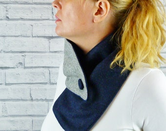 Women's Colour Block Buttoned Scarf - Grey/Navy Yorkshire Wool Twill