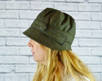 Womens Cloche Hat - Dark Green Birdseye Yorkshire Tweed, Womens Hat