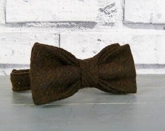 Boys Bow Tie - Brown Twill Yorkshire Tweed, Eco friendly