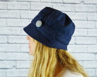 Womens Cloche Hat - Navy Yorkshire Wool Twill with Grey Contrast Button, Womens Hat