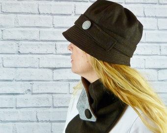 Womens Cloche Hat - BrownYorkshire Wool Twill with Grey Contrast Button, Womens Hat