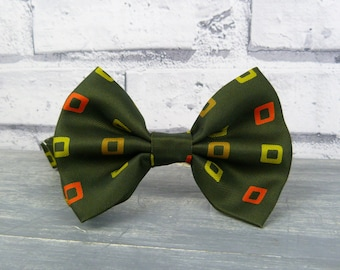 Oversized Bow Tie - Olive Patterned Silk, Mens Large Bow Tie