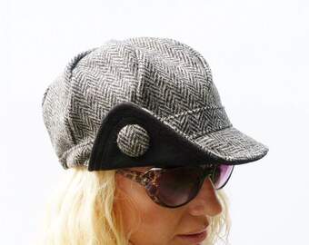 Harris Tweed Newsboy cap - Black/Grey herringbone tweed - womens hat, womens cap