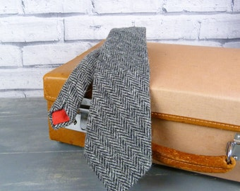 Harris Tweed Tie - Black/Grey Herringbone