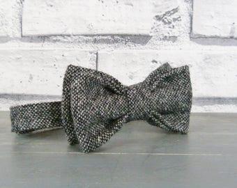 Boys Bow Tie - Black/Grey Yorkshire Wool Birdseye Tweed