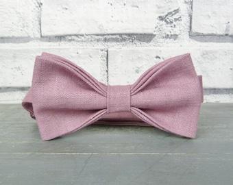 Linen Bow Tie - Dusky Pink, Wedding Bow Tie, Groomsman Bow Tie, Eco Friendly