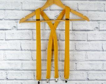 Harris Tweed Braces/Suspender - Mustard Yellow Tweed