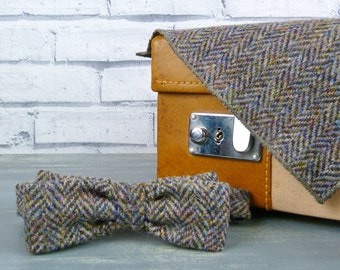 Harris Tweed Skinny Bow Tie and Pocket Square - Multi Autumnal Colours
