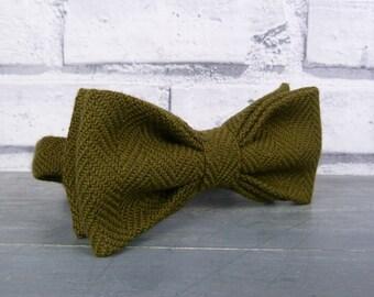 Irish Wool Tweed Bow Tie - Olive Green