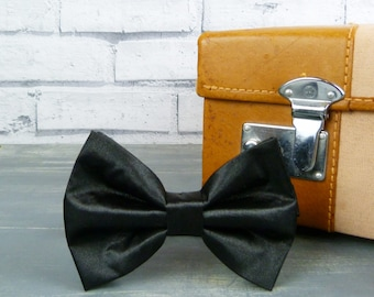Oversized Bow Tie - Black Satin, Mens Large Bow Tie