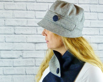 Womens Cloche Hat - Grey Yorkshire Wool Twill with Navy Contrast Button, Womens Hat