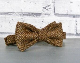 Boys Bow Tie - Brown Herringbone Yorkshire Tweed