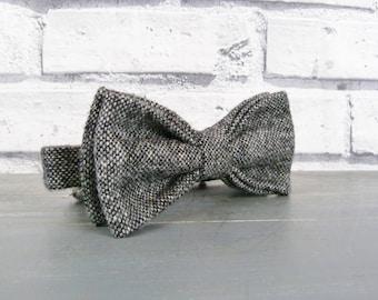 Mens Bow Tie - Black/Grey Yorkshire Birdseye Tweed