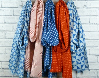 Indigo, Burnt Orange  and Red Indian Cotton Scarf - various pattern options