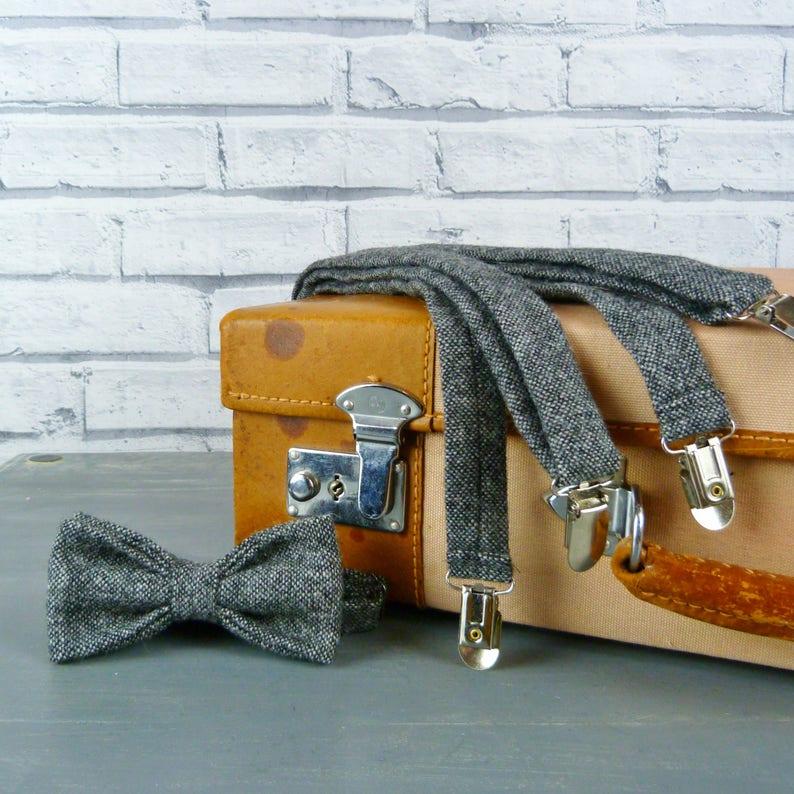 Tweed Bow Tie and BracesSuspenders set BlackGrey Yorkshire Birdseye Tweed eco friendly