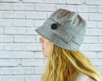 Womens Cloche Hat - Grey Yorkshire Wool Twill with Charcoal Contrast Button, Womens Hat