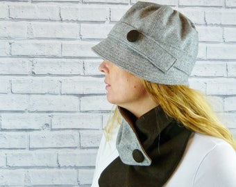 Womens Cloche Hat - Grey Yorkshire Wool Twill with Brown Contrast Button, Womens Hat