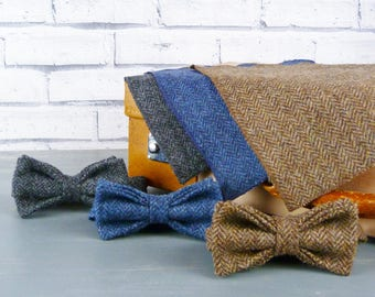 Bow Tie and Pocket Square - Herringbone Yorkshire Tweed, various colour options, Eco Friendly