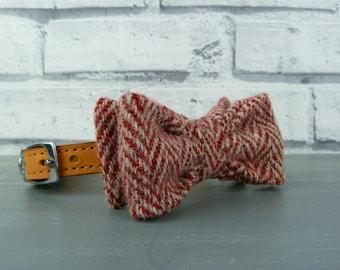 Dog Bow Tie - Harris Tweed, Red and Beige Herringbone, Harris Tweed Bow Tie for Dogs