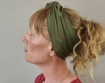 Non Slip Top Knot Headband - Olive