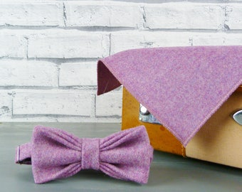 Bow Tie and Pocket Square - Dusky Pink Twill Yorkshire Tweed