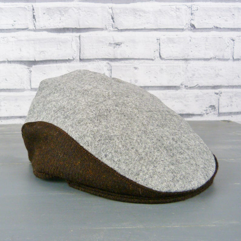 b81283021 Mens Colour Block Flat cap - Contemporary Grey and Brown Yorkshire Twill  Tweed