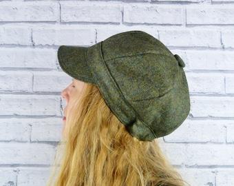 Eco Friendly Baker Boy Hat - Dark Green Yorkshire Wool Tweed